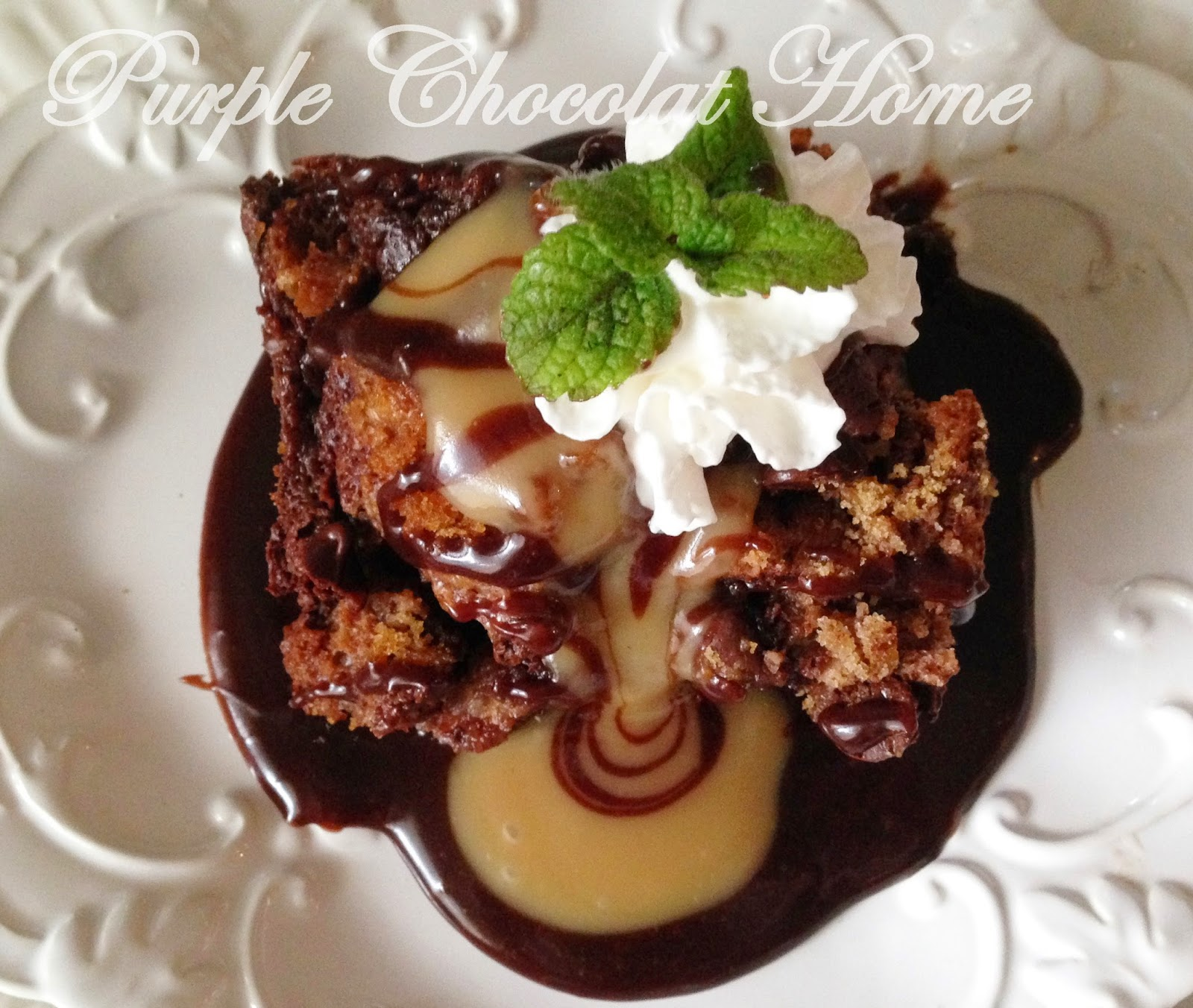 Chocolate Bread Pudding with Caramel Cream Sauce - Purple Chocolat ...