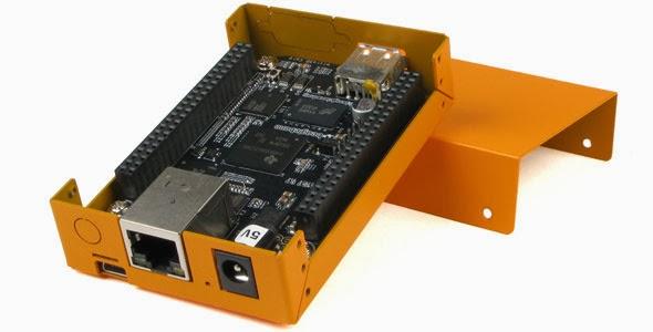 BeagleBone inside Orange case sitting on cover