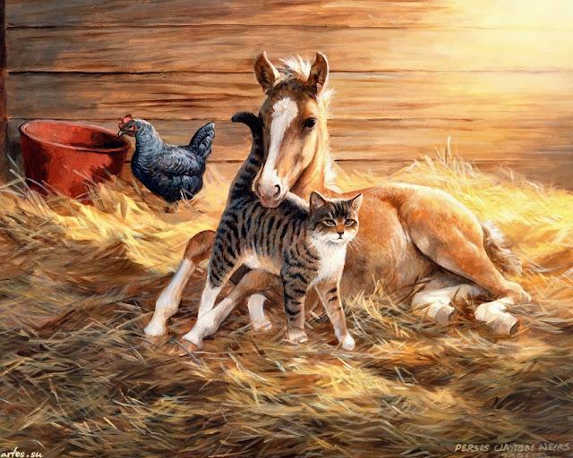 кот и жеребёнок