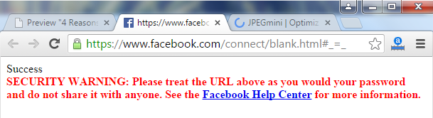 Facebook Access Token Warning Message