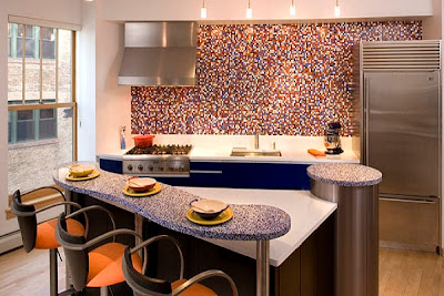 modern kitchen with colorful glass tiles backsplash