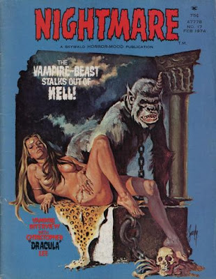 Skywald, Nightmare #17, a naked blonde reclines on an altar, beside a horny ape