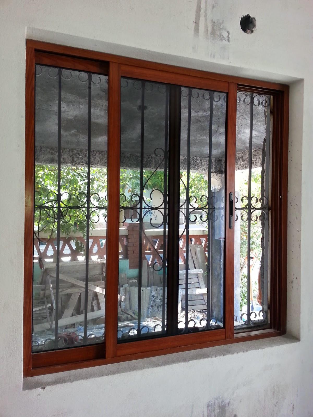 Persianas aluminio y vidrio ventana de 3 en acabado for Ventanas en madera