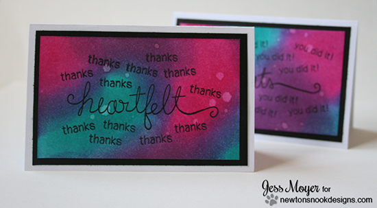 Thank you card with Distress inks by Jess Moyer for Newton's Nook Designs | Simply Sentimental Stamp Set