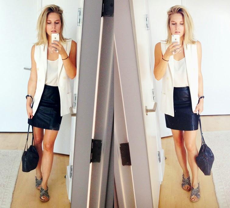 Long vest vintage leather skirt Bottega Veneta intrecciato