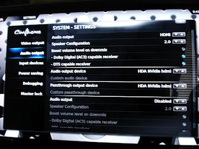 GeeXbox - Audio Output Setting