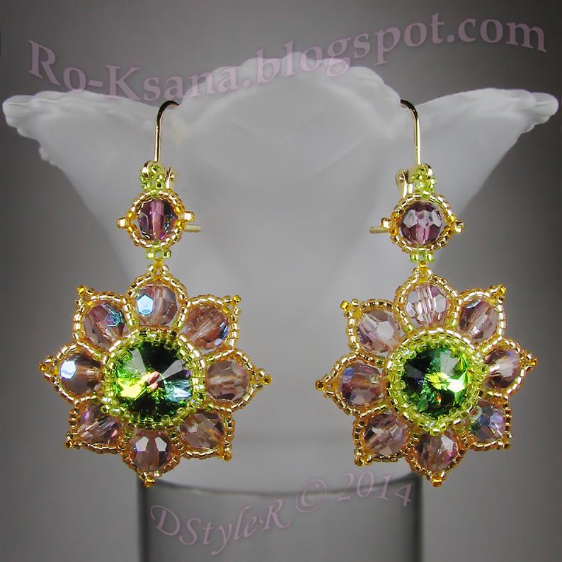 """Beaded earrings with Swarovski rivoli and crystals """"Royal Amethyst Flowers"""" Серьги из бисера с риволи Сваровски и хрустальными бусинами """"Королевский аметист"""""""