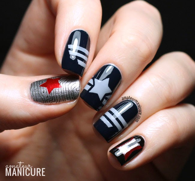 I Tried To Capture The Iconic Looks Of Three Central Characters In Movie With These Nails Captain America Index Middle Ring