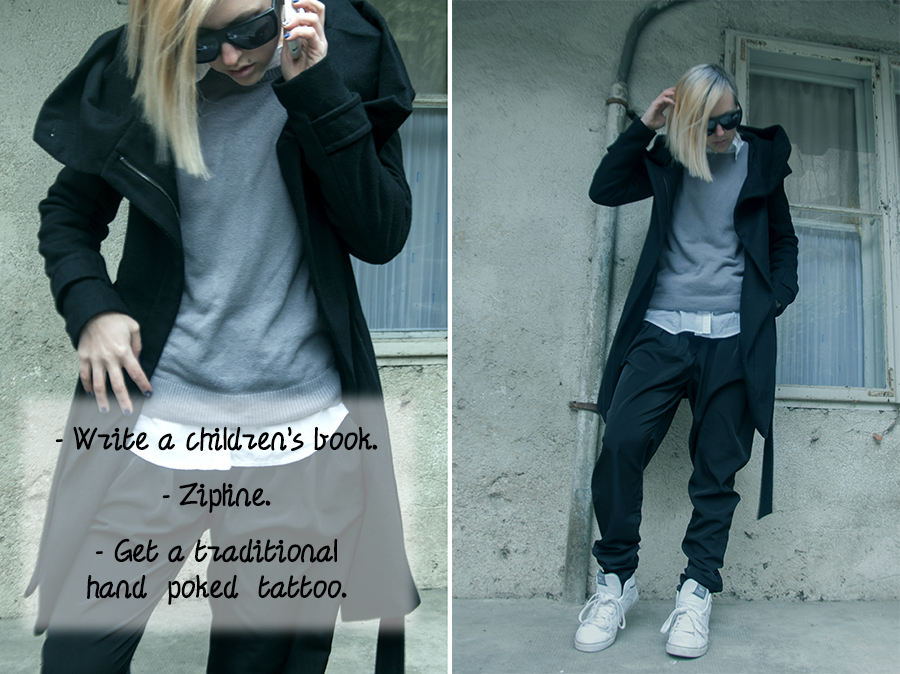 For Peet's Sake blog grey sweater black harem pants zara coat