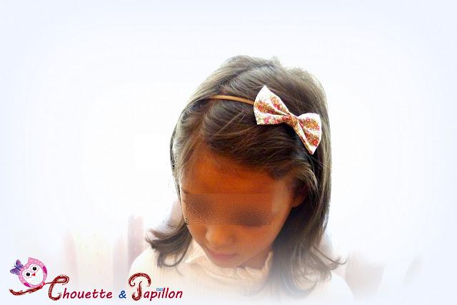 bandeau fille, bandeau bébé avec un gros noeud papillon en liberty eloise