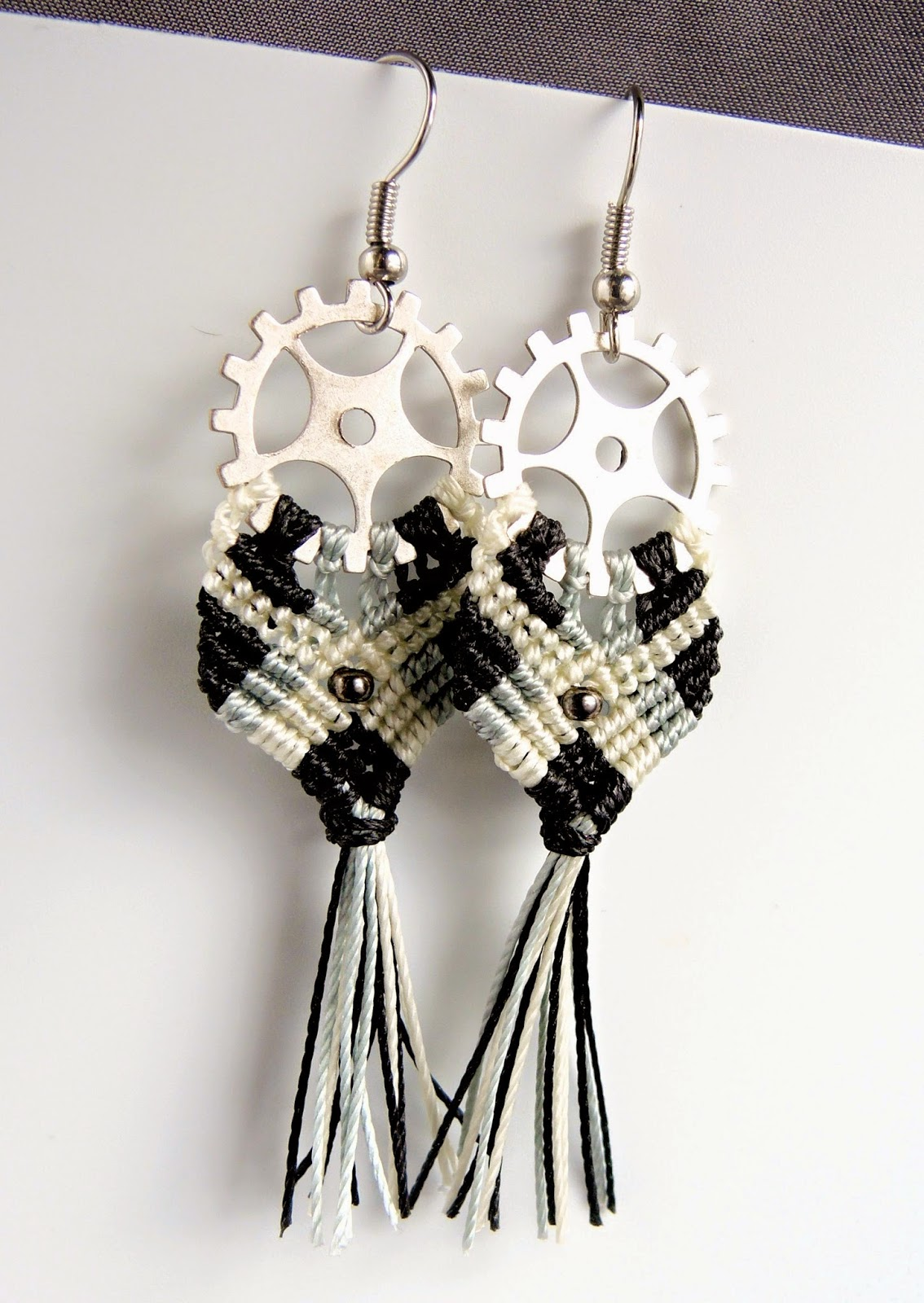 steampunk version of Gypsy micro macrame earrings gears