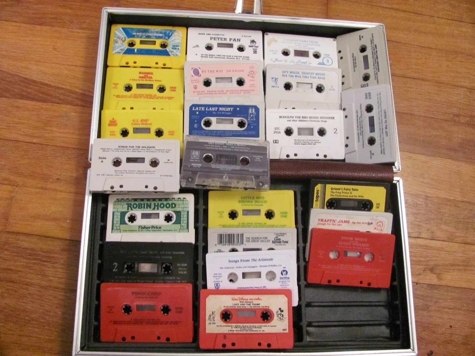 A view of a full case of children's music and story tapes