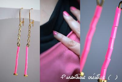 blog-parenthese creative-boucle d'oreille-fluo-rose-scoubidou-bo and girl show