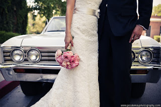 bride groom and classic car