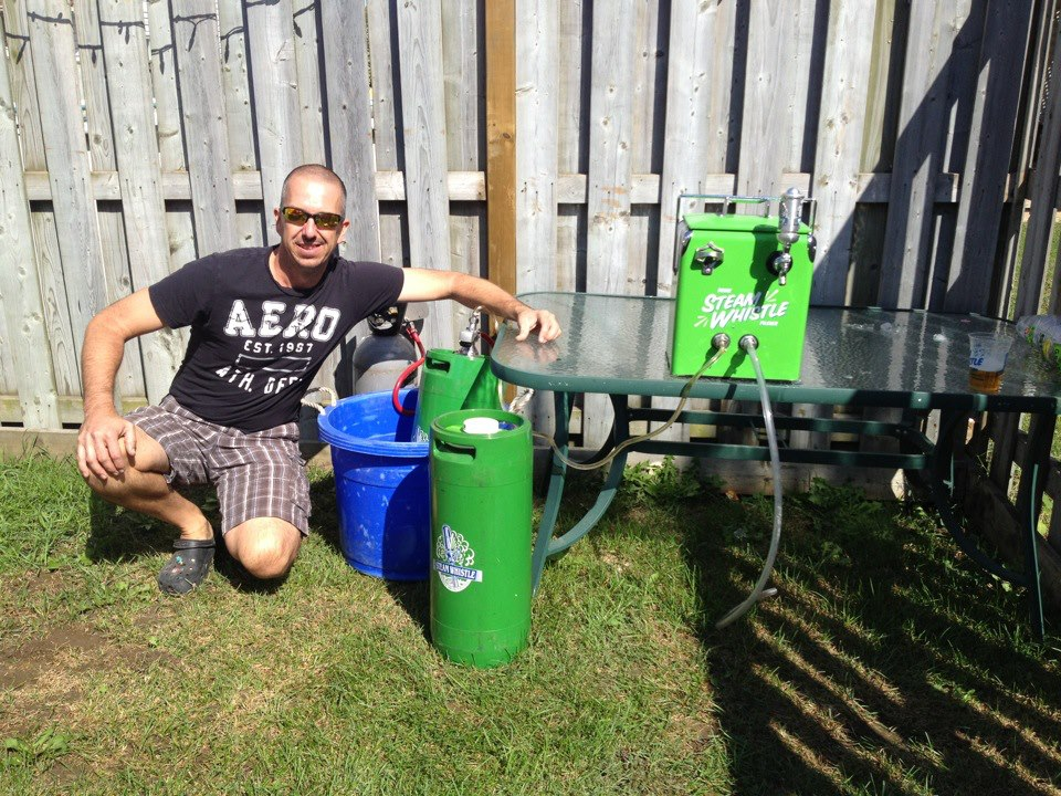 Chad With His Backyard 20L Steamwhistle Keg And The 2nd One He Bought For Me