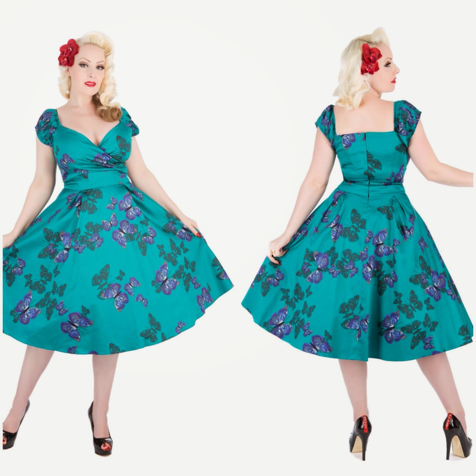 Lady V London Dress Teal Butterflies
