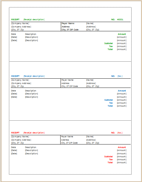 Document Templates THREE BEST RECEIPT TEMPLATES – Receipt Document Template