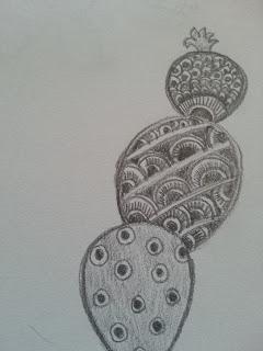 pencil drawing of cactus