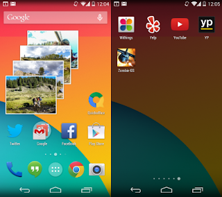 home screens and the app drawer on KitKat