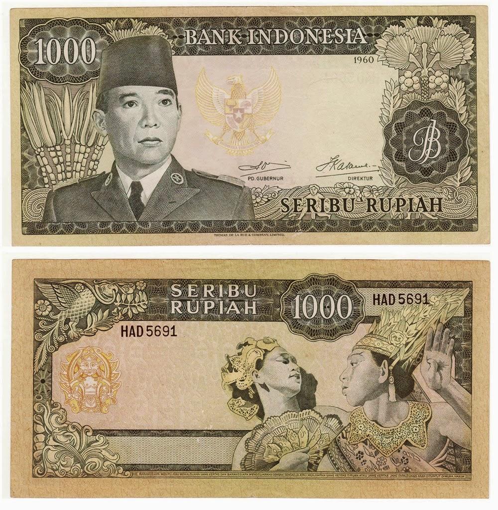Uang kuno Seri Soekarno tahun  1960 Pecahan 1000 rupiah
