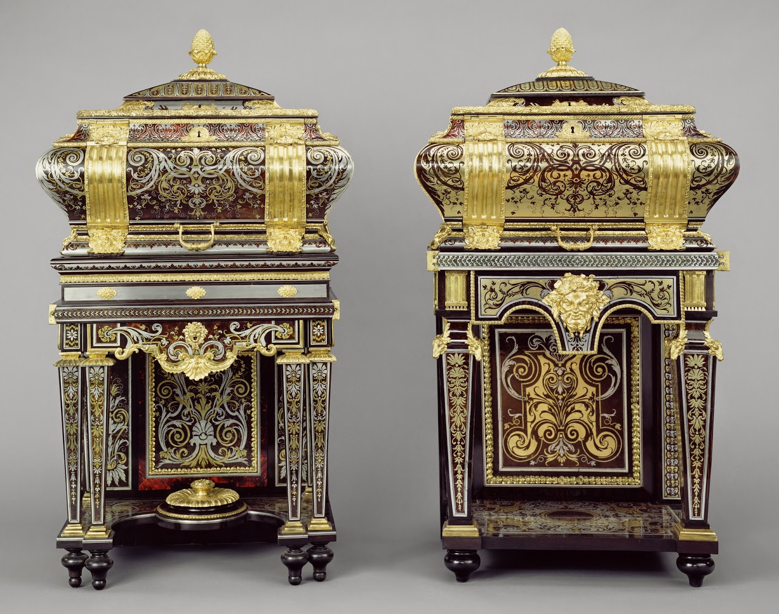 Two Coffers on Stands, Attributed to André-Charles Boulle, about 1684 - 1689, Oak, cypress, and walnut veneered with tortoise shell, blue-painted horn, ebony, padouk, rosewood, pewter, and brass; gilt-bronze mounts; mirror glass