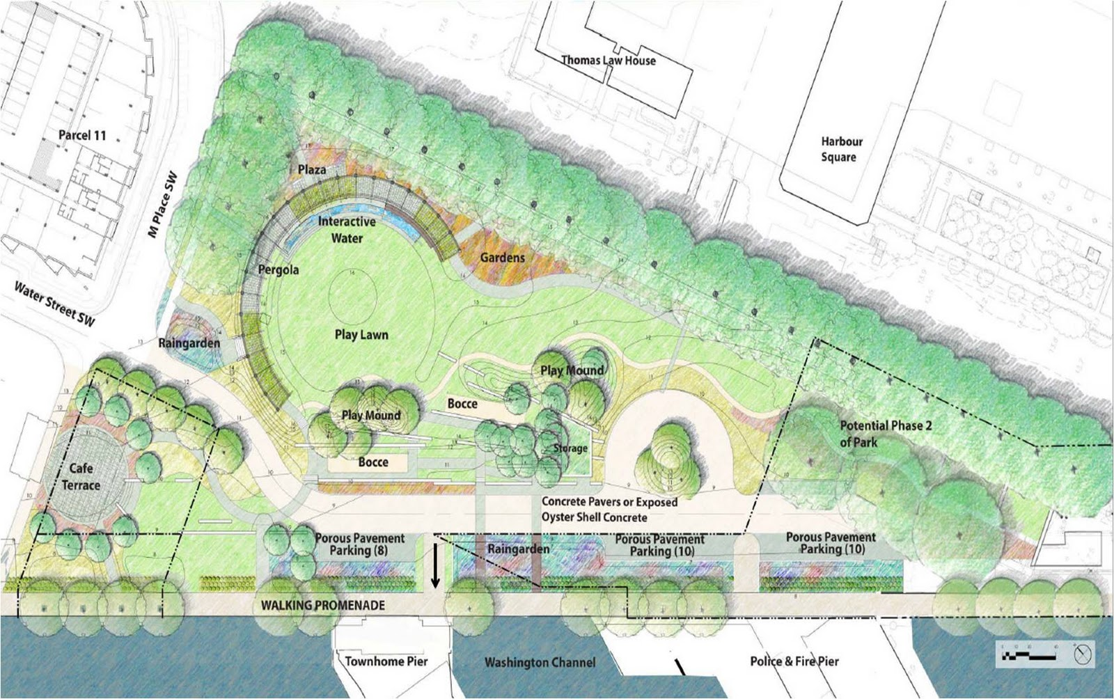 Southwest the little quadrant that could wharf for Park landscape design