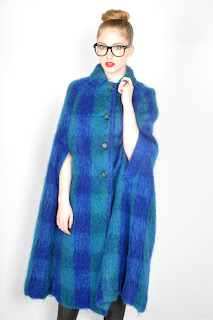 Vintage 1960's blue plaid wool swing cape.