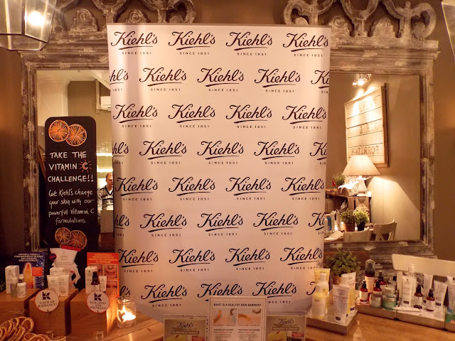A picture of the Kiehl's skincare display at Filmore and Union in York