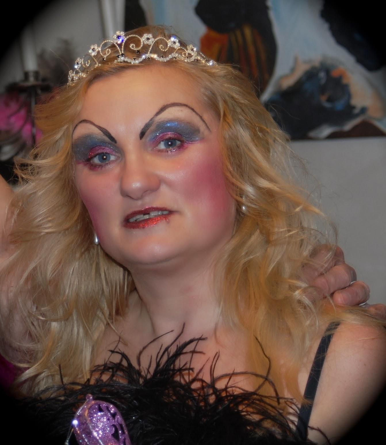 blogger in drag queen costume