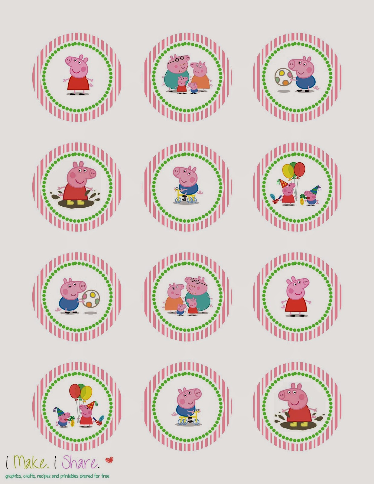 I make i share peppa pig cupcake template for Peppa pig cake template free