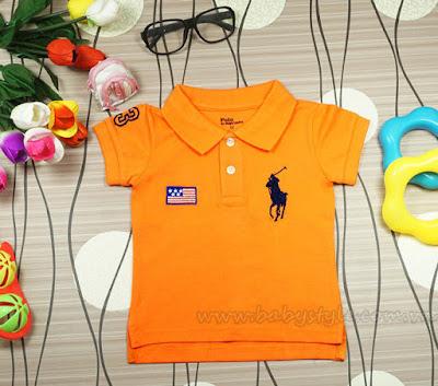 Áo Polo dành cho bé gái cực cute màu Cam