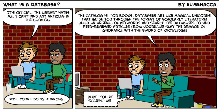 comic strip about library catalogs