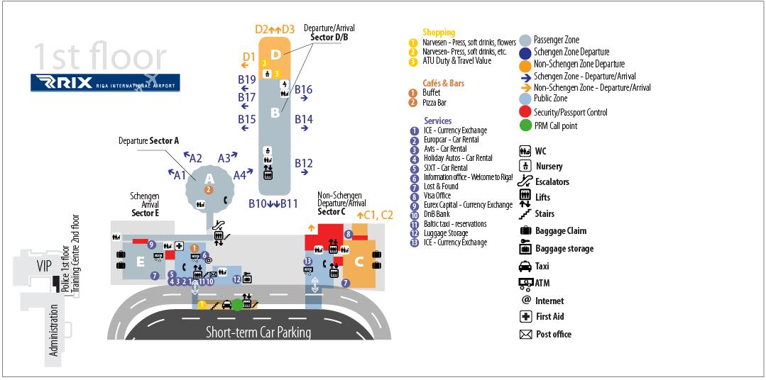 Схема терминала аэропорта Рига
