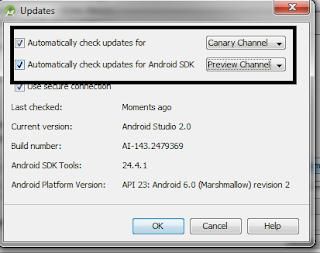 Udpdates Android Studio