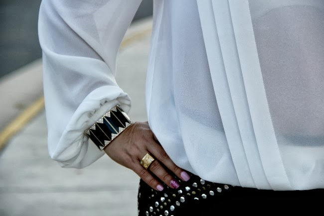 Studded Black Pencil Skirt, Pleated White Blouse, Accessories - TJ Maxx