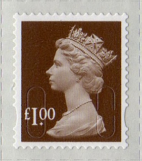 £1 wood brown Machin definitive stamp 2013.