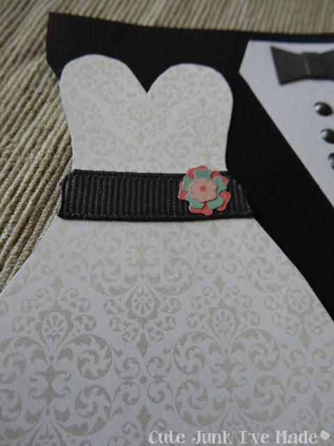 Homemade Wedding Card - Flowers on Dress