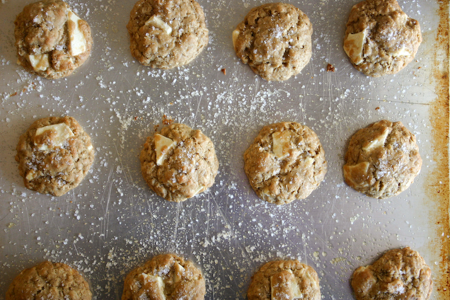Brown Butter White Chocolate Chunk Oatmeal Cookies.