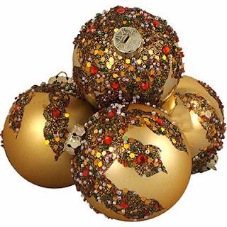 Decoración Navideña, Bolas de Cristal Doradas