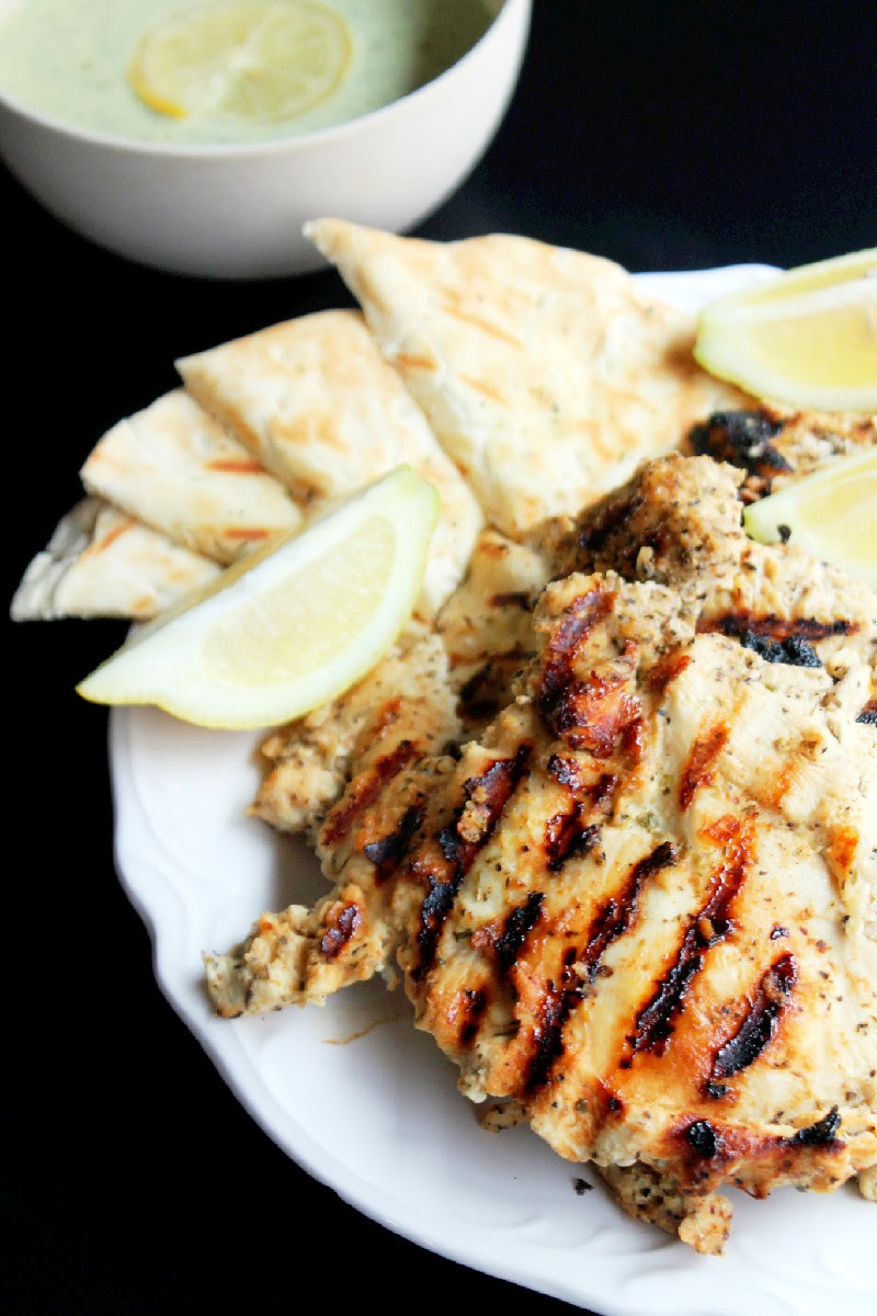 Grilled Greek Chicken, Family Style with Feta Tzatziki Sauce