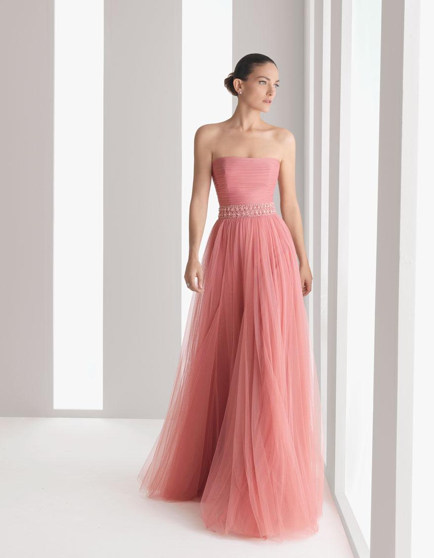 Lujo Rubor De Color Rosa A Largo Vestidos De Dama De Honor ...