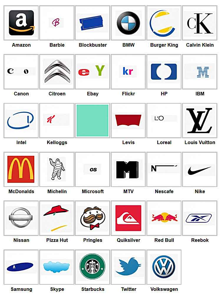 Company Logos Quiz Answers Level 1