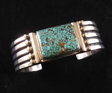 Orville Tsinnie 14K Gold, Sterling Silver & Kingman Web Turquoise Bracelet