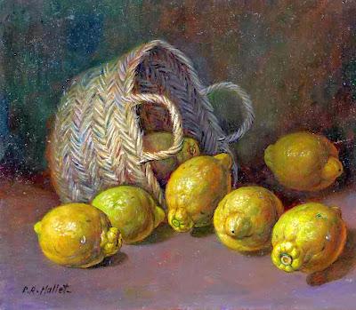Bodegón pintado al óleo que representa unos limones caidos de una espuerta al fondo