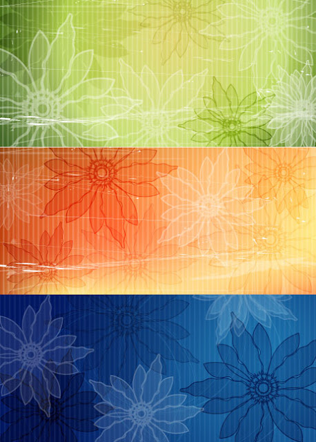 Retro style flower background vector material
