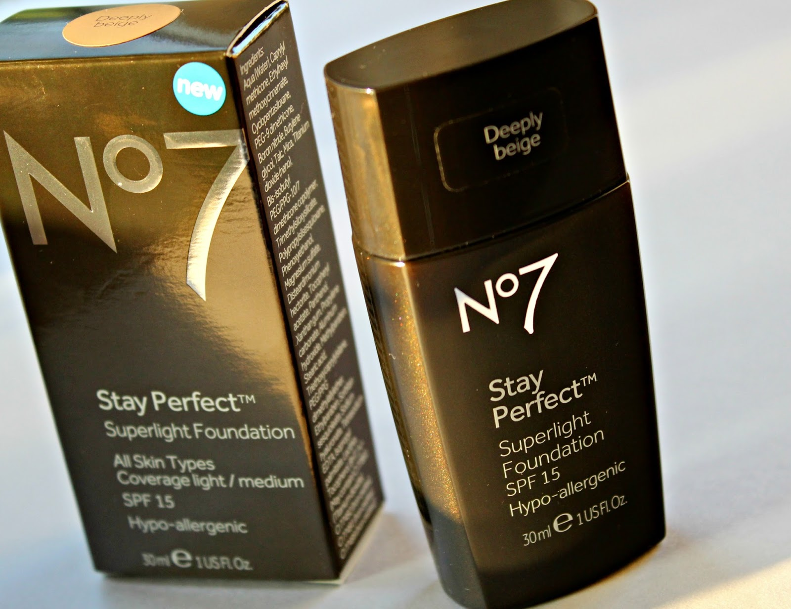 A picture of the No 7 Stay Perfect Superlight Foundation in Deeply Beige