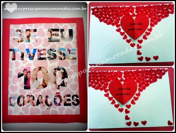 cartão namorados se eu tivesse 100 corações