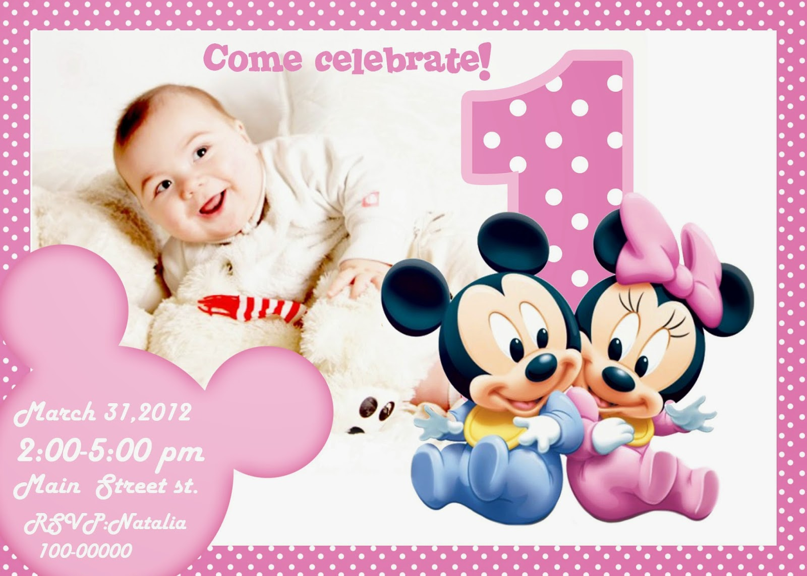 free printable invitation Mickey Mouse Free Printable – Free First Birthday Invitations Templates