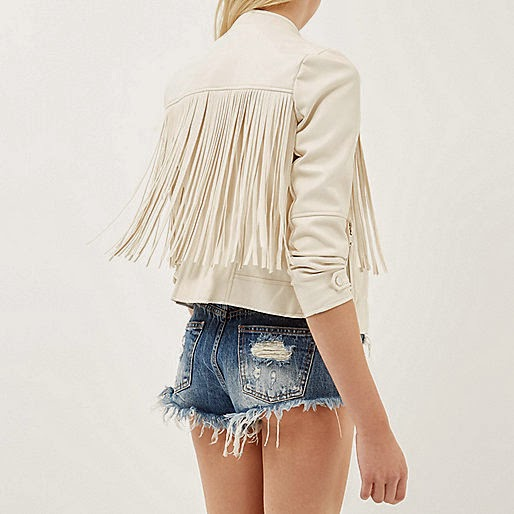 cream leather fringe coat