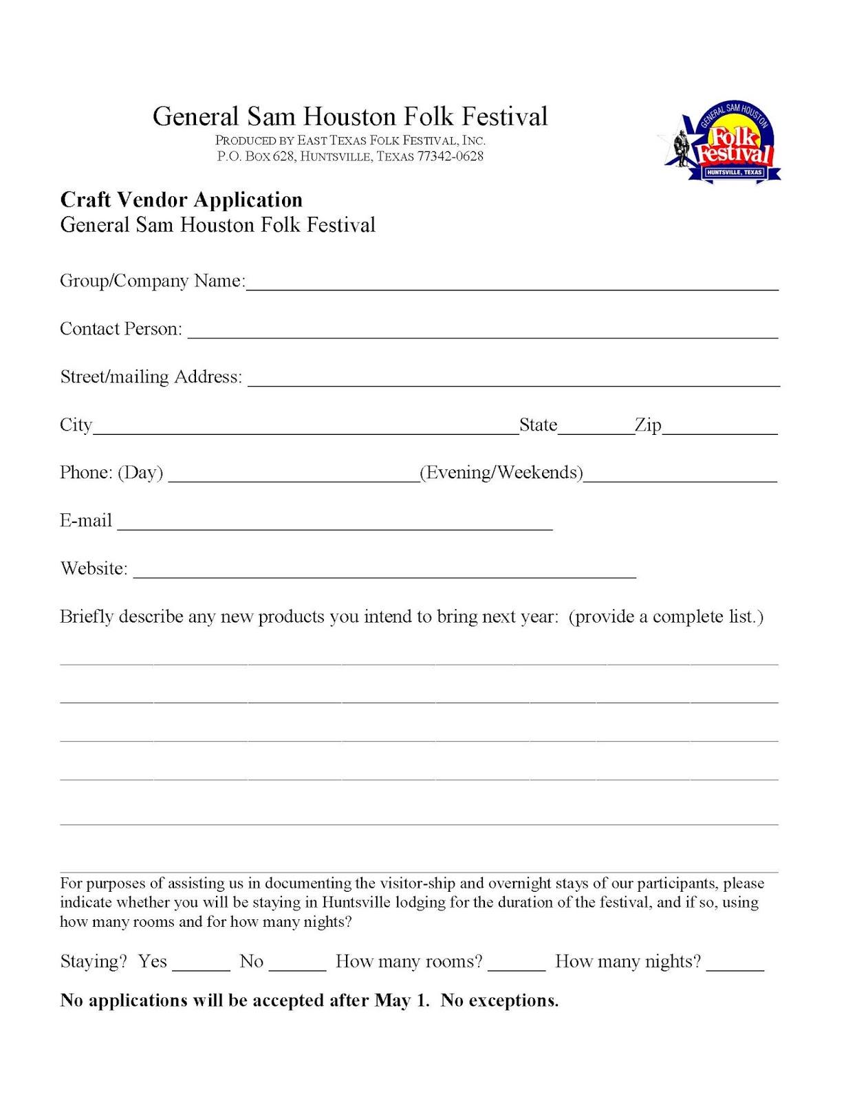 General Sam Houston Folk Festival: Craft Vendor Application